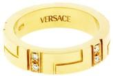 Versace 18K Yellow Gold & 0.20ct Diamond Eternity Band Ring Sz 6.75