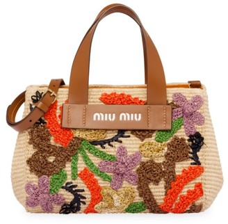 Miu Miu Floral-Embroidered Basket Tote
