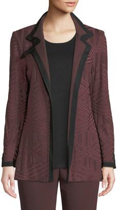 Misook Plus Size Textured Knit Jacket w/ Border Trim