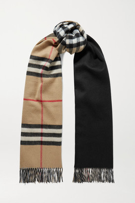 Burberry Reversible Fringed Checked Cashmere Scarf - Beige