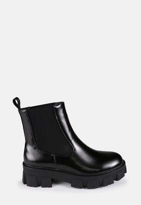 Missguided Black Chunky Lego Sole Chelsea Boots