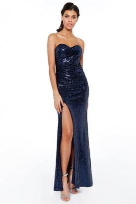 Goddiva Navy StraplessSequinned Split Maxi Dress