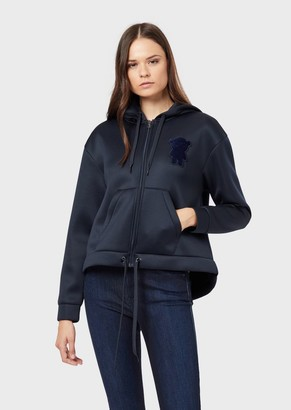 Emporio Armani Oversized Sweatshirt In Shiny Scuba With Velvet Manga Bear Patch