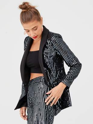 Very Sequin Stripe Tux Blazer - Black