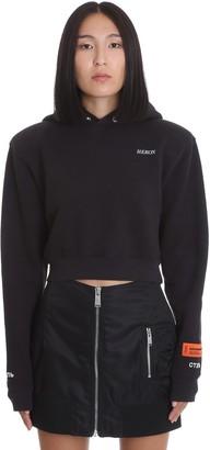 Heron Preston Cropped Hoodie Sweatshirt In Black Cotton