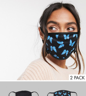 Skinnydip 2 pack face covering with adjustable straps in plain black and butterfly print