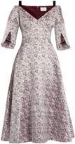 Erdem Karol V-neck satin-jacquard dress