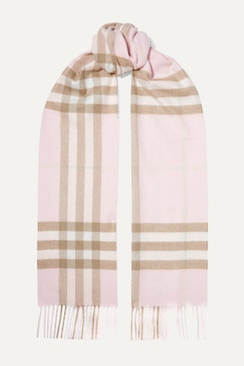 Burberry Fringed Checked Cashmere Scarf - Pastel pink
