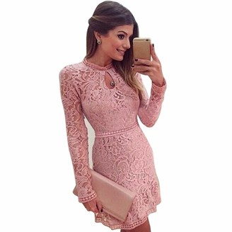 DEELIN Women Autumn Long Sleeve Round Neck Elegant Solid Pink Hollow Lace Sexy Slim Club Party Evening Dress Mini Dress