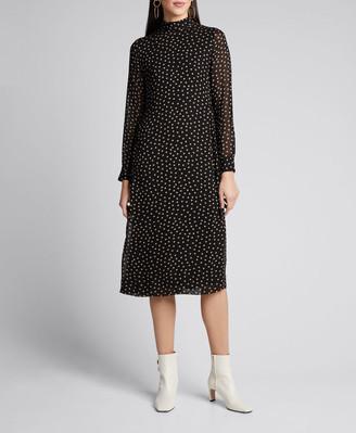 Ganni Dot-Print Georgette Long-Sleeve Midi Dress