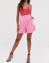 Asos Design DESIGN mom suit shorts in pop pink