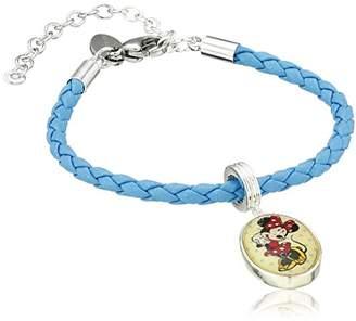 Disney Girls' Plated Brass Minnie Leather Bead Charm Bracelet