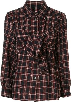 Unravel Project Plaid Tie-Front Shirt