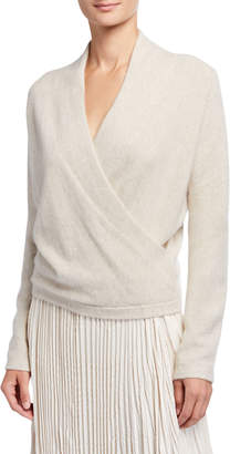 Vince Wrap Front Long Sleeve Cashmere Pullover Sweater