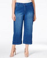 Melissa McCarthy Trendy Plus Size Cropped Wide-Leg Jeans