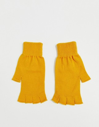 ASOS DESIGN fingerless gloves in recycled polyester in mustard