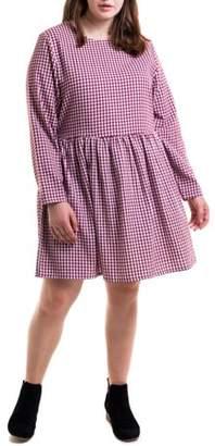 Heartbreak Juniors' Plus Size Long Sleeve Gingham Babydoll Dress