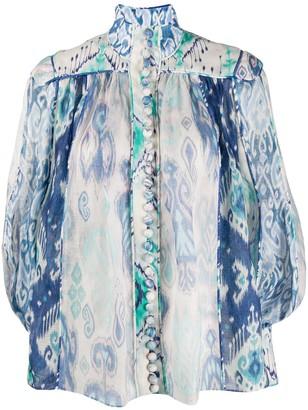 Zimmermann Absract Print Bell-Sleeve Shirt