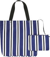 Joe Fresh Women's Stripe Tote, Dark Navy (Size O/S)