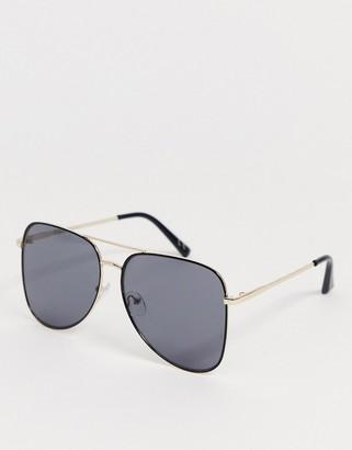 Asos Design DESIGN oversized aviator sunglasses in black