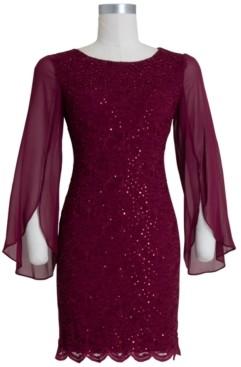 Connected Lace Split-Sleeve Sheath Dress