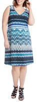 Karen Kane Plus Size Women's Brigitte Batik Stripe Tank Dress