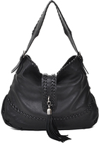 Carla Mancini Black Whipstitch Tassel Leather Hobo