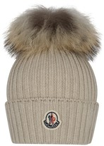 Moncler Beige Knitted Hat With Fur Pom Pom