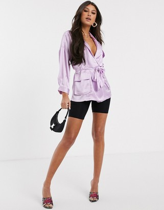 Asos Design DESIGN long sleeve satin top with utility detail-Purple