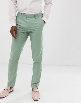 ASOS DESIGN wedding slim suit trousers in sage green