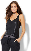 Lounge - Faux-Leather Front Tank Top