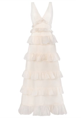 True Decadence Cream Low Back Tiered Frill Maxi Dress