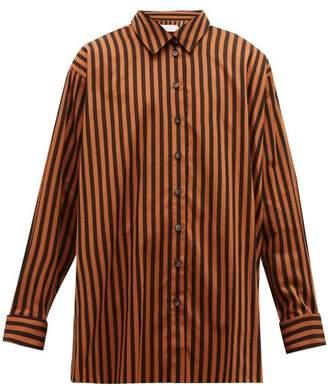 Marques Almeida Marques'almeida - Oversized Striped Cotton Shirt - Mens - Black Brown