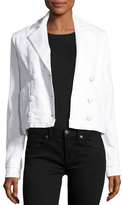 Frame Le Crop Double-Breasted Denim Jacket, Blanc