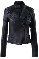 LingLuoFang LLF Women's Faux Leather Moto Biker Short Jacket With Decorative Belt