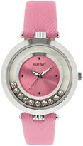 Ellen Tracy Pink & Silvertone Floating Crystal Watch