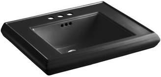 "Kohler Memoirs® Ceramic 27"" Pedestal Bathroom Sink with Overflow Sink Finish: Black Black"
