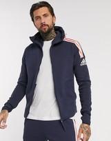 adidas ZNE 3 stripe zip thru hoodie in navy