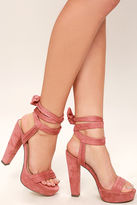 Liliana Corrine Dusty Pink Suede Lace-Up Platform Heels