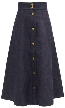 Vika 2.0 - High-rise Recycled-cotton Denim A-line Skirt - Denim