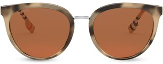 Burberry Eyewear Oversize Frame Check Print Sunglasses