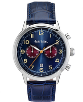 Paul Smith P10012 Men's Precision Chronograph Date Leather Strap Watch, Dark Blue