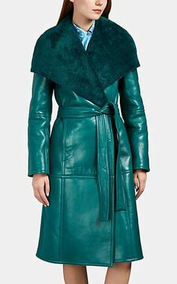 Balenciaga Women's Faux-Shearling-Detailed Leather Belted Coat - Green