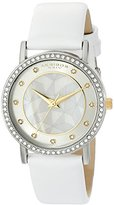 Akribos XXIV Women's AK791WT Crystal-Accented Silver-Tone Watch with White Leather Band