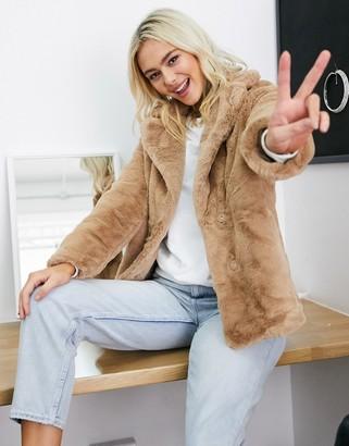 New Look faux fur coat in camel