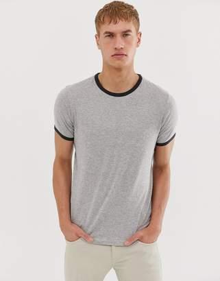 Brave Soul ringer tshirt-Gray