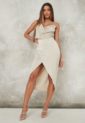 Missguided Cream Satin Asymmetric Drape Midi Dress