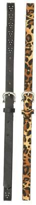 Vince Camuto Solid & Leopard Print Belts - Set of 2