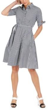 Calvin Klein Petite Cotton Plaid Shirtdress
