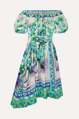 Prada Off-the-shoulder Shirred Printed Cotton-poplin Dress - Green